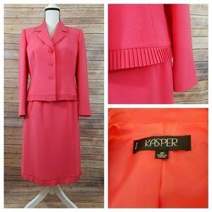 Kasper 8P 8 Petite Pink Ruffle Skirt Suit